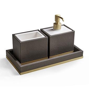 3SC Milano Комплект: стакан, дозатор, лоток, цвет: коричневая эко-кожа/золото 24к. Lucido