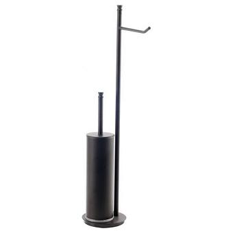 StilHaus Hashi Стойка с держателем для туалетной бумаги и ершиком металлическим, напольная, цвет: чёрный матовый