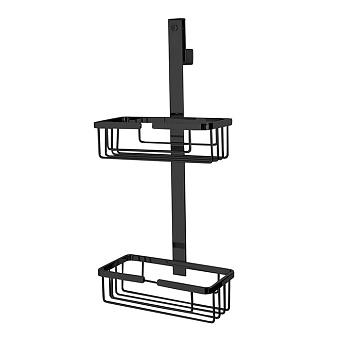 3SC APPY Полочка-корзинка двойная 25х12хh57см, подвесная на стекло, цвет: черный матовый