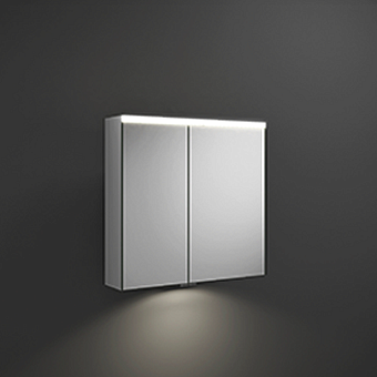 BURGBAD Iveo  Зеркальный шкаф с подсветкой , 708х680х160 мм,свет. 1 выкл. стекл полки, 2 зеркальн двери с обеих сторон, зеркальная поверхность