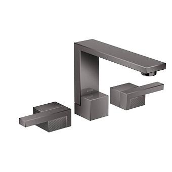 Axor Edge Смеситель для раковины, на 3 отв., с донным клапаном push/open, излив 173мм, алмазная огранка, цвет: черный