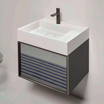 Antonio Lupi Graffio Тумба с раковиной 54х50хh37,5см, с 1 ящиком со стеклом argentato fume/каркас titanio, цвет боковин: skin cenere