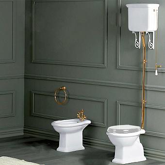 SIMAS Lante Унитаз напольный, выпуск в стену, 38,5х58см, цвет белый с высоким бачком, с фурнитурой цвета золото
