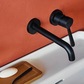 Agape Fez 2 Настенный смеситель для раковины, однорычажный, илив: 200мм, цвет: черынй