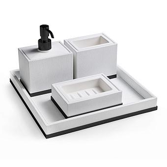 3SC Snowy Комплект: стакан, дозатор, мыльница, лоток, цвет: белая эко-кожа/черный матовый