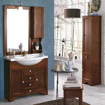 EBAN Eleonora Комплект мебели, с раковиной , с зеркалом со шкафчиком правым и светильником, 107см, Цвет: noce