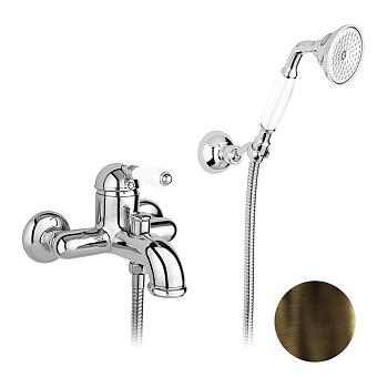 Nicolazzi P.m. Blanc Смеситель для ванны однорычажный, настенный, с ручным душем, ручки белая керамика, цвет: тёмная бронза
