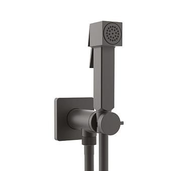 Bossini Cube Brass Гигиенический душ с прогрессивным смесителем, лейка металлическая, шланг Cromolux, цвет: черный матовый