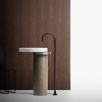 Falper Eccentrico Раковина 63x56x90 см, без отв., напольная, мраморная Carrara, полотенцедержатель нержавеющая сталь, цвет: светлый дуб