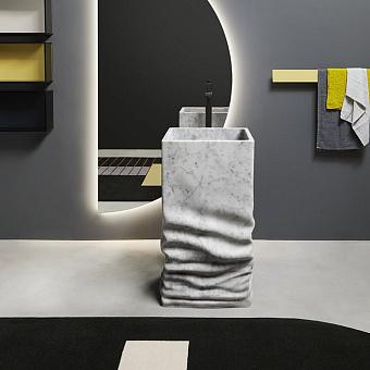 Antonio Lupi Ossimoro Раковина 45х45х85 см, напольная, слив в пол, с сифоном, донным клапаном и гибким шлангом, цвет: мрамор Carrara