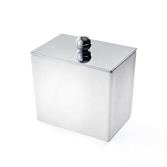 3SC Mood White Баночка универсальная, 10х10х7 см, с крышкой, настольная, композит Solid Surface, цвет: белый матовый/хром