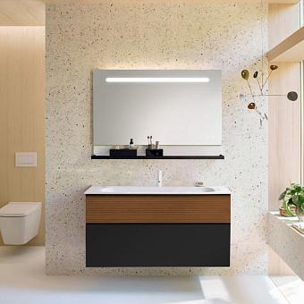 Burgbad Fiumo Комплект подвесной мебели 122х49х61см, с раковиной на 1 отв., ручки черные матовые, цвет: Tectona Dekor Zimt/Graphit Softmatt