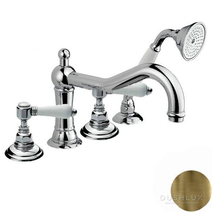 Nicolazzi P.M.Blancl Смеситель на борт ванны с душем на 4 отверствия, излив: 246 мм, цвет: Bronze Plated