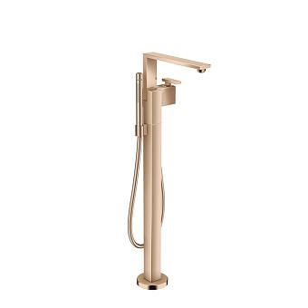 Axor Edge Смеситель для ванны, напольный, с ручным душем, излив 255мм, алмазная огранка, цвет: красное золото