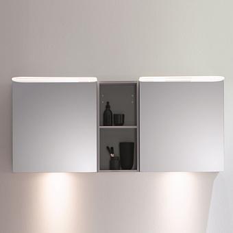 BurgBad Badu Зеркальный шкаф 150х31х66.5см, 2 светильника, цвет: серый