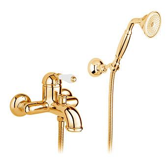 Nicolazzi P.m. Blanc Смеситель для ванны однорычажный, настенный, с ручным душем, ручки белая керамика, цвет: золото
