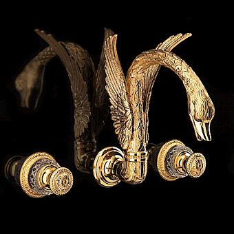 Devon&Devon Excelsior Swan Смеситель для раковины на три отверстия для настенного монтажа, цвет: золото 24к