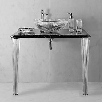 3SC Elegance Консоль 70х54хh97см с раковиной EL11, топ-мрамор nero marquinia, сифон, цвет: хром