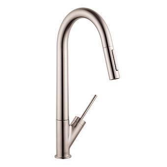 Axor Starck Смеситель для кухни, однорычажный, на 1 отв, с выдвижным душем, излив 235мм, цвет: сталь