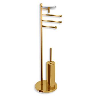 Bertocci Cinquecento Напольная стойка с ершиком и бумагодержателем, п/держателем и мыльницей, цвет: золото