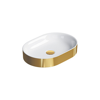 Catalano Horizon Раковина накладная 50х30хh:8.5см., без перелива, цвет: золото/белый