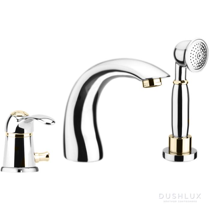 Webert Aurora Смеситель для ванны, набортный, 3 отв., цвет: хром/золото