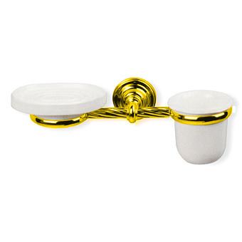 StilHaus Giunone Настенный стакан + мыльница, цвет: золото/керамика