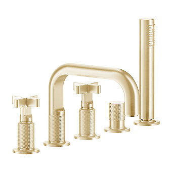 Gessi Inciso Смеситель для ванны, на 5 отв., с переключатель потоков, шланг 150см, и ручным душем, цвет: золото