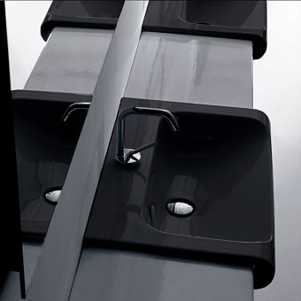 KERASAN Inka Project INKA Раковина 125 см, 1 отв., подвесная, цвет: черный/белый глянцевый