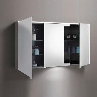 BURGBAD Eqio Зеркальный шкаф с LED подсветкой 5Вт IP24, 120х80х17см, 3 зерк. двери с обоих сторон, версия левая L, стекл полки, вкл/выкл, цвет: серый