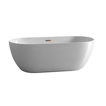 Noken Lounge Ванна овальная 170x75х58см, отдельностоящая, акриловая, цвет: белый / медь