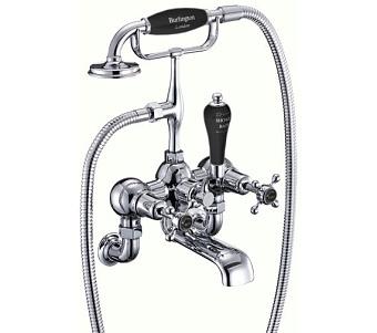 Burlington Claremont Смеситель настенный для ванны с ручным душем, цвет Хром/черны
