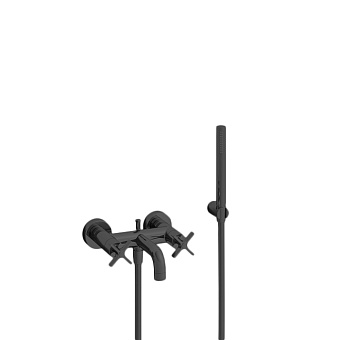 Cristina Cross Road Смеситель для ванны с ручным душем, 3 отв., цвет: черный матовый
