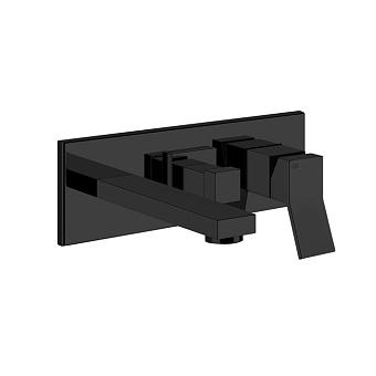 Gessi Rettangolo K Смеситель для раковины, встраиваемый, однорычажный, с изливом и переключателем PULL, цвет: Black XL