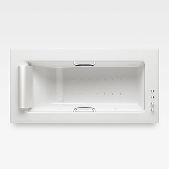 Armani Roca Island Встраиваемая ванна 214.5х110см а/мас. хромотер. термостат руч. душ, Hide-Flow, ручки, мягкий подголовник, цвет: glossy white/хром