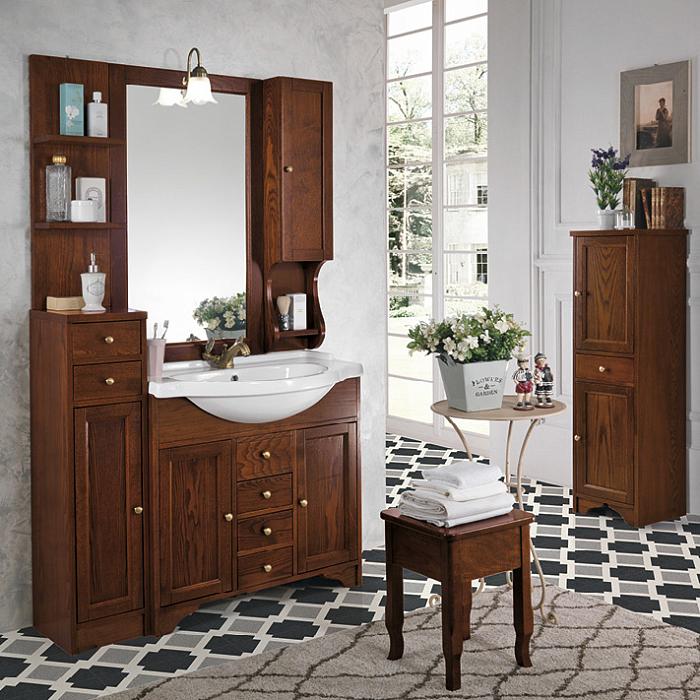 EBAN Eleonora  Modular  Комплект мебели, с раковиной , с тумбой левой, и светильником, зеркалом и шкафчик справа, 107см, цвет: noce