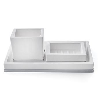 3SC Mood Deluxe Комплект: стакан, дозатор, лоток, цвет: белый матовый/хром