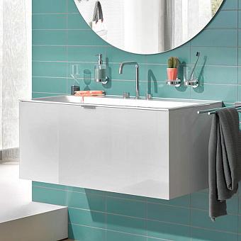 Emco Vanity units Тумба подвесная 120х52хh44см, с раковиной, 1 ящик со стекл фасадом, ручка хром, корпус лак, цвет: белый