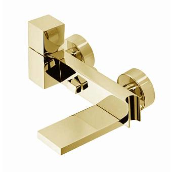"""Bossini Cube Смеситель наружный с девиатором, держатель для душевой лейки  с гибким соединением 1/2"""", цвет: золото"""