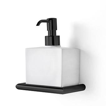 3SC Guy Дозатор для жидкого мыла, подвесной, композит Solid Surface, цвет: белый матовый/черный матовый