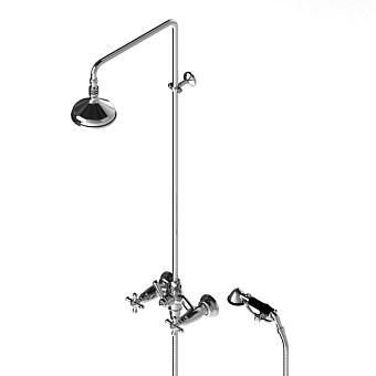 Stella Roma Душевой комплект 3284/301/314A-140: смеситель, штанга+ручной+верхний душ 140мм, цвет: хром