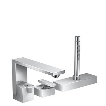 Axor Edge Смеситель на борт ванны, на 3 отв., с ручным душем, излив 210мм, алмазная огранка, цвет: хром