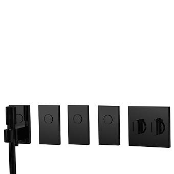 Carlo Frattini Switch Смеситель для душа встраиваемый, термостат, на 4 полож, ручной душ и черный шланг 1500 мм, внешн часть, цвет: черный матовый