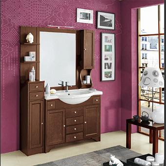 EBAN Eleonora Modular Комплект мебели, с зеркалом со шкафчиком справа, колонна слева, с раковиной и светильником, 130см, Цвет: NOCE