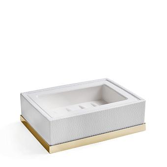 3SC Snowy Мыльница настольная, цвет: белая эко-кожа/золото 24к. Lucido