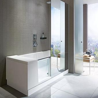 DURAVIT Shower + Bath Bathtub Ванна 1700х750хh2105 мм, прямоугольная с входной дверью и душевой шторкой ЗЕРКАЛЬНОЙ, SX - левосторонняя, цвет: белый