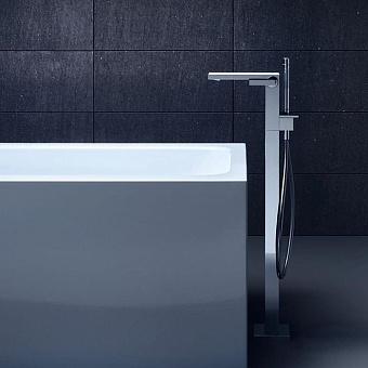 Axor MyEdition Смеситель для ванны, напольный, на 1 отв., излив 245мм, со сливным гарнитуром, цвет: хром/зеркальное стекло