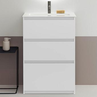 Burgbad Lin20 Комплект мебели 90.2х36.5х62см., напольный, 3 ящика, с 1 отв., раковина белая с сифоном, цвет: белый матовый