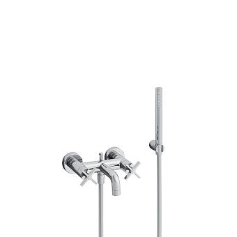 Cristina Cross Road Смеситель для ванны с ручным душем, 3 отв., цвет: хром