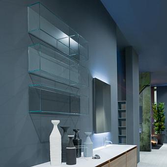 Antonio Lupi Ice Открытый подвесной шкаф 72х14х25 см из прозрачного стекла с 1 секцией, задняя стенка окрашена в цвет по каталогу